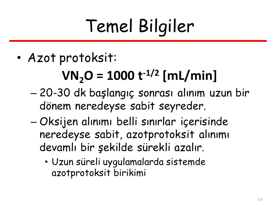 Temel Bilgiler VN2O = 1000 t-1/2 [mL/min] Azot protoksit: